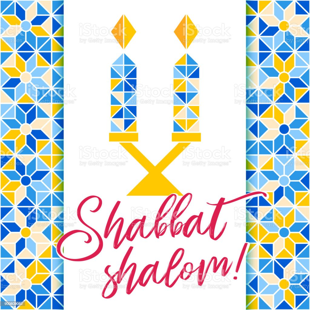 Shabbat Shalom Greeting Card Mosaic Background Stock Vector Art