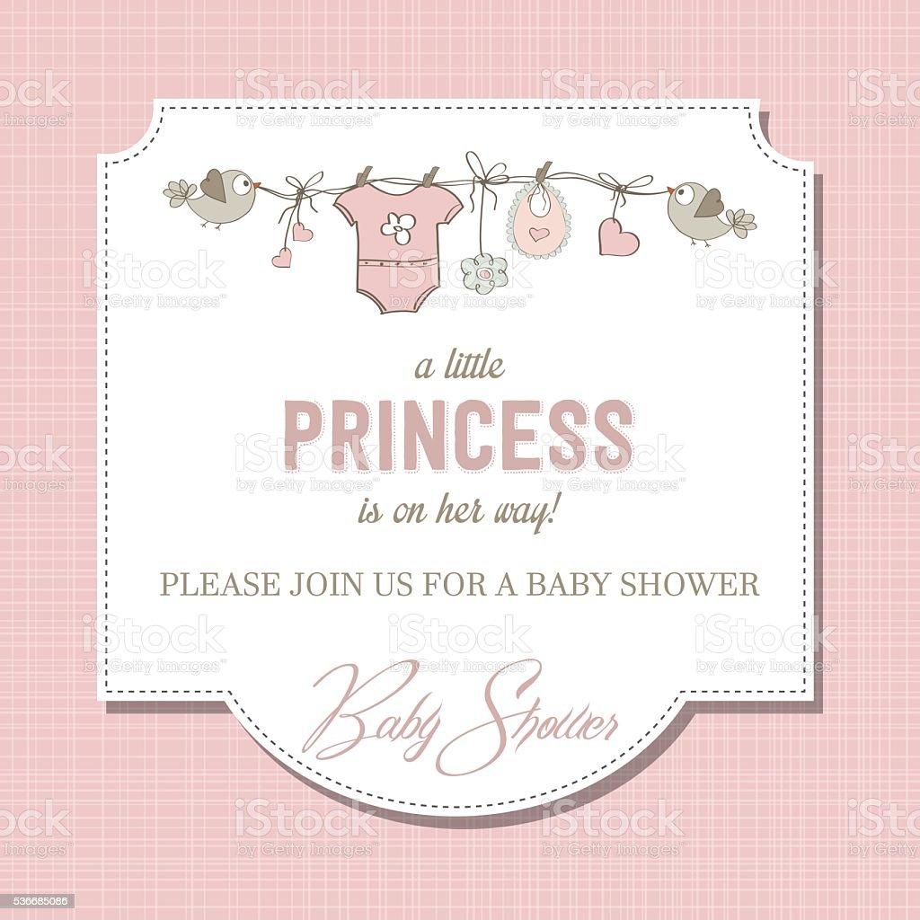 Shabby Und Mehr: Shabby Chic Baby Mädchen Dusche Karte Stock Vektor Art Und