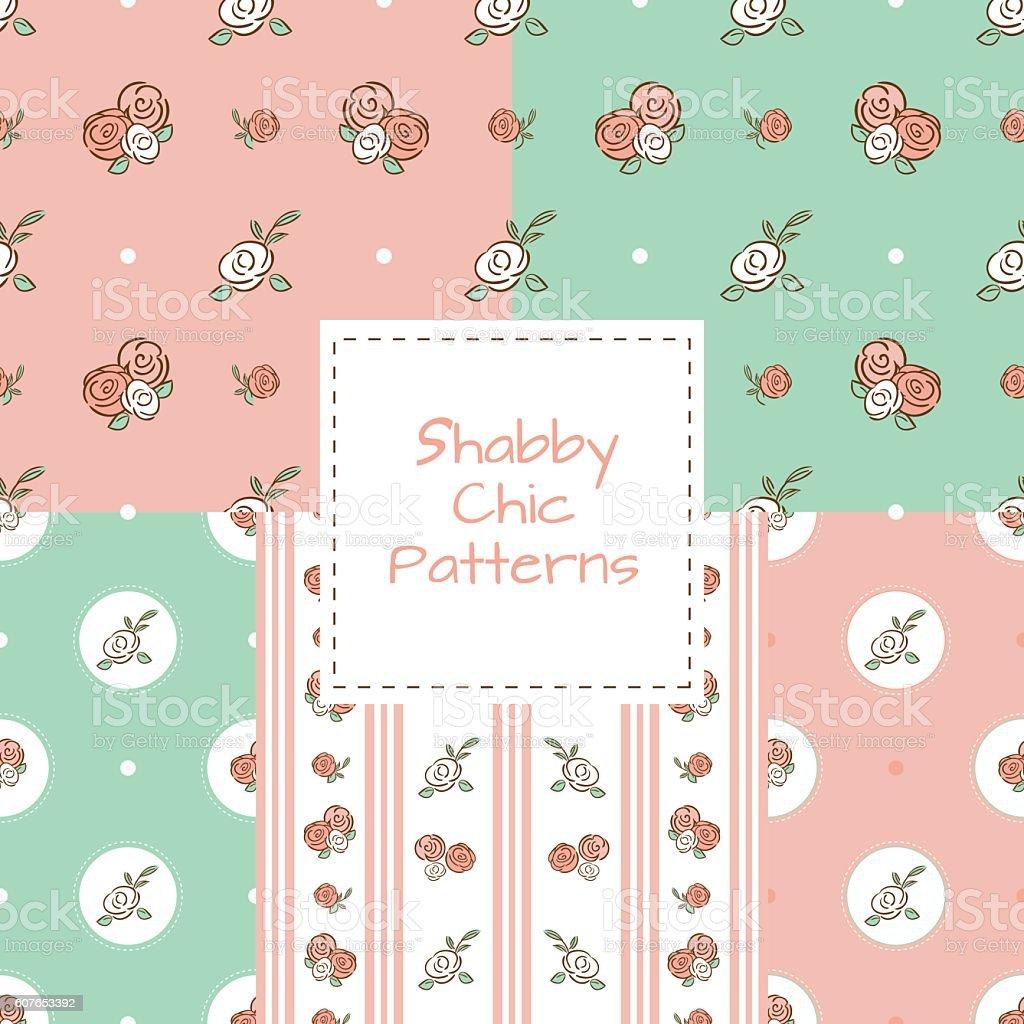 Shabby Chic Background Set Rose Retro Pattern Royalty Free