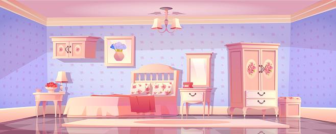 Shabby chic bedroom interior, empty vintage room