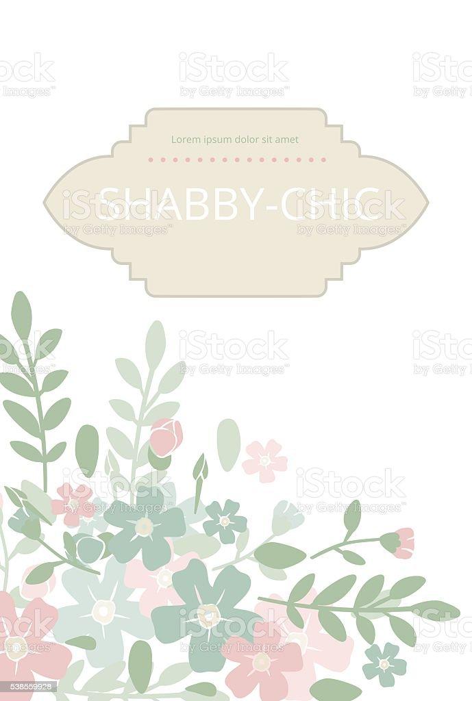 Stile Shabbychic Elegante Sfondo Vintage Con Telaio Piselli E Fiori