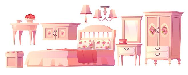 Shabby chic interior set for bedroom