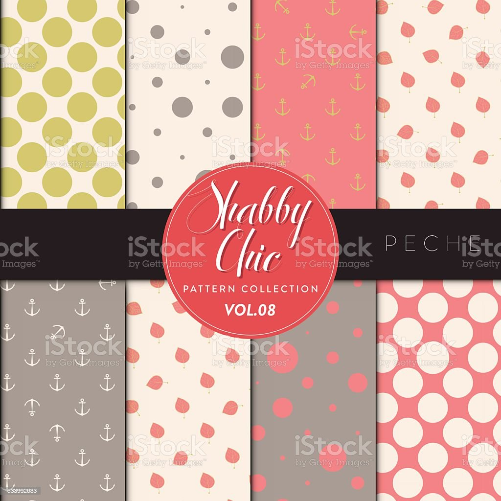Shabby Chic Pattern Collection - Peche vector art illustration