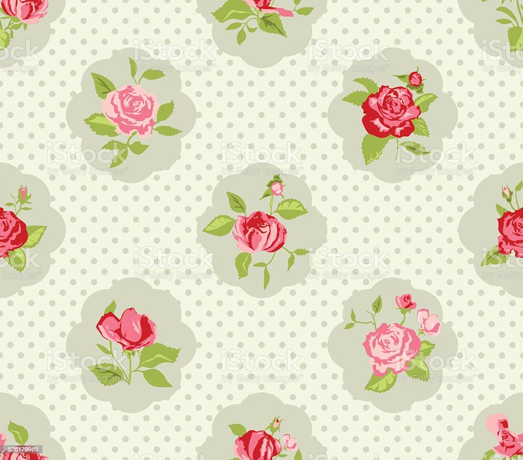 Shabby chic rose background vector art illustration