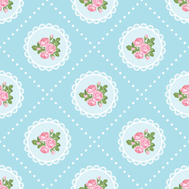 Royalty Free Blue Floral Shabby Chic Vintage Scrapbook Paper