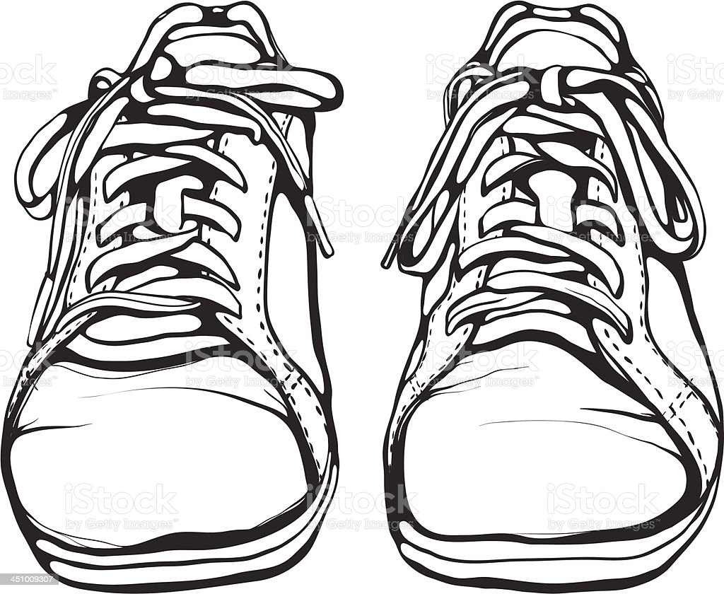 Shabby Running Shoes in Black Ink royalty-free stock vector art