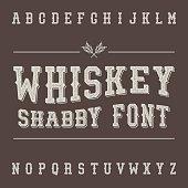 Shabby Vintage Whiskey Font. Alcohol Drink Label Design. Slab Serif Grunge Retro Typeface. Scratched Latin Alphabet. Vector.