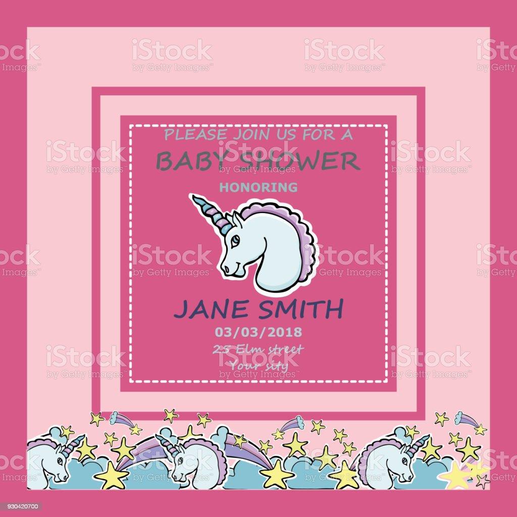 Shablon 2vector Baby Shower Greeting Card Little Cute Unicorn Stars