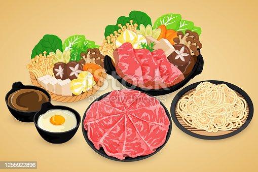 Shabu shabu big set (hot pot) illustration on background vector.