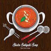 shabu sukiyaki tom yum soup illustration graphic object
