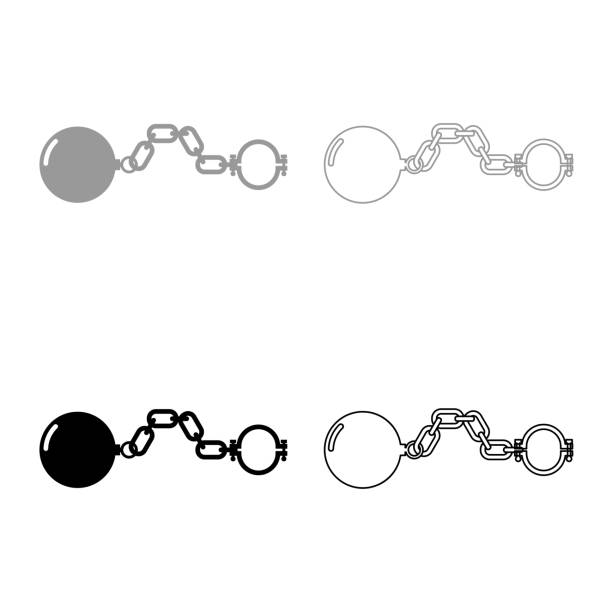 Shackles with ball icon set grey black color vector art illustration