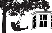 A vector silhouette illustration of a young boy swinging on a tree swing infront of his home where only a window shows.