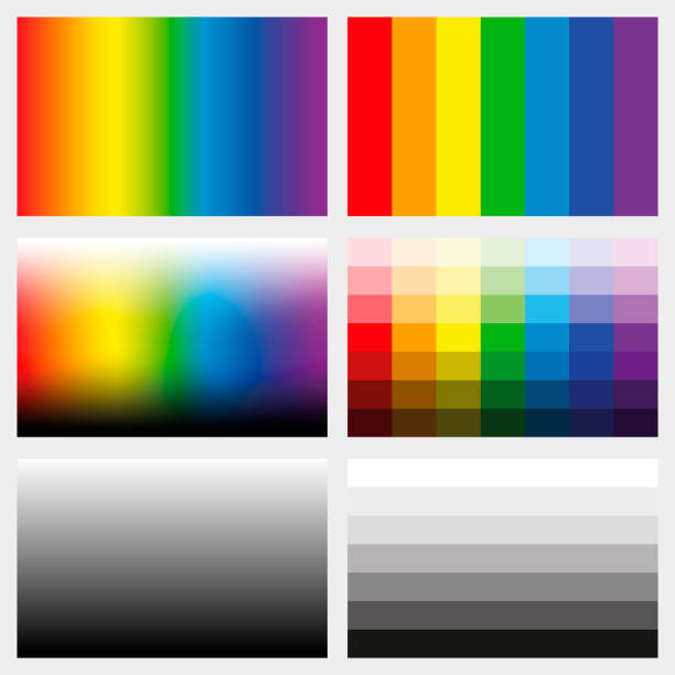 Shade tabs. Set of color gradients, grayscales and saturation spectrums in different gradations from light to dark - work tool for graphic design artists - vector illustration. Shade tabs. Set of color gradients, grayscales and saturation spectrums in different gradations from light to dark - work tool for graphic design artists - vector illustration. saturated color stock illustrations