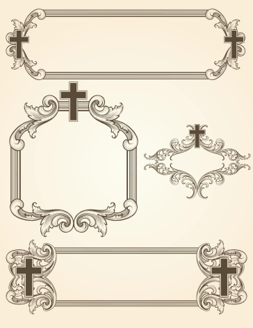 Shaded Arabesque Cross Frames