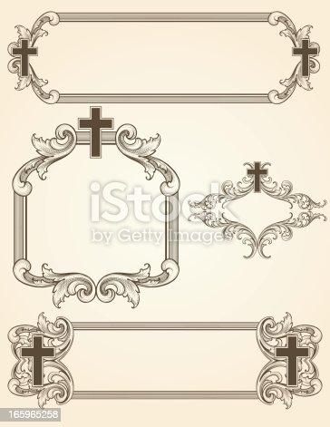 istock Shaded Arabesque Cross Frames 165965258