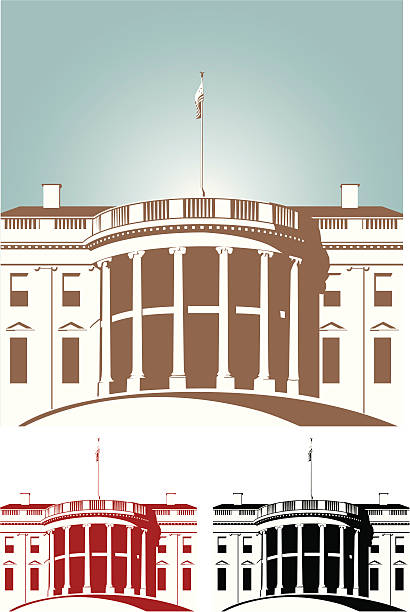 Shaded brown red and black White House White house in Silhouette white house stock illustrations