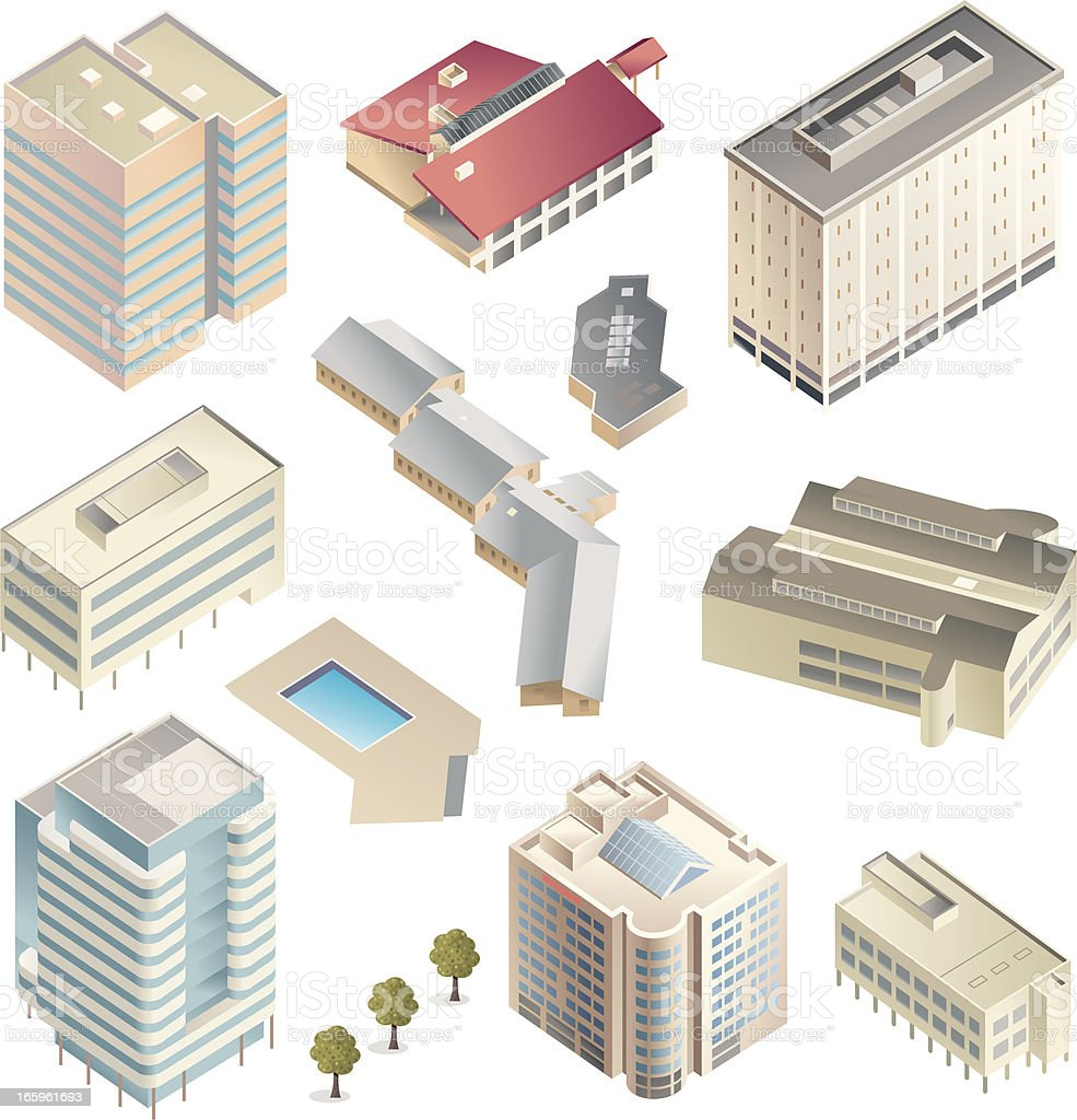 Shaded buildings vector art illustration
