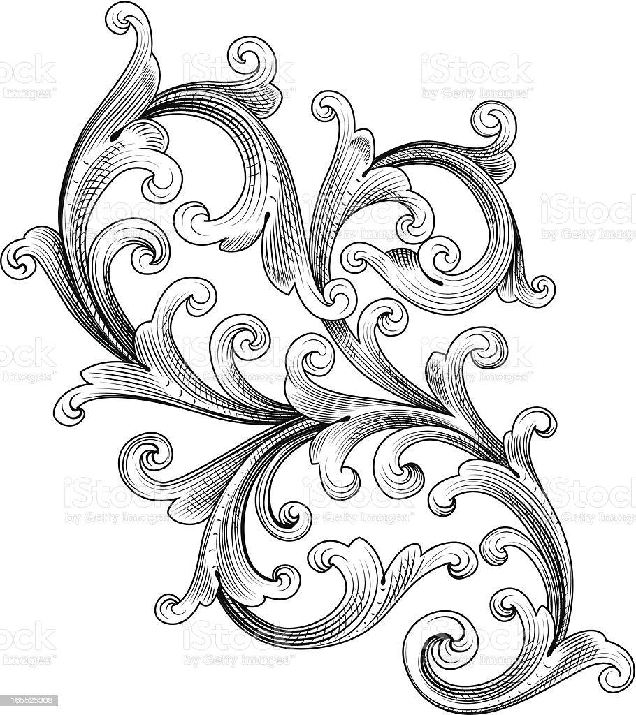 Shaded Curl Scroll vector art illustration