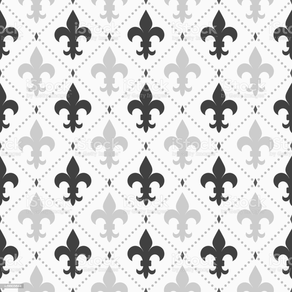 Shades of gray light and dark Fleur-de-lis vector art illustration