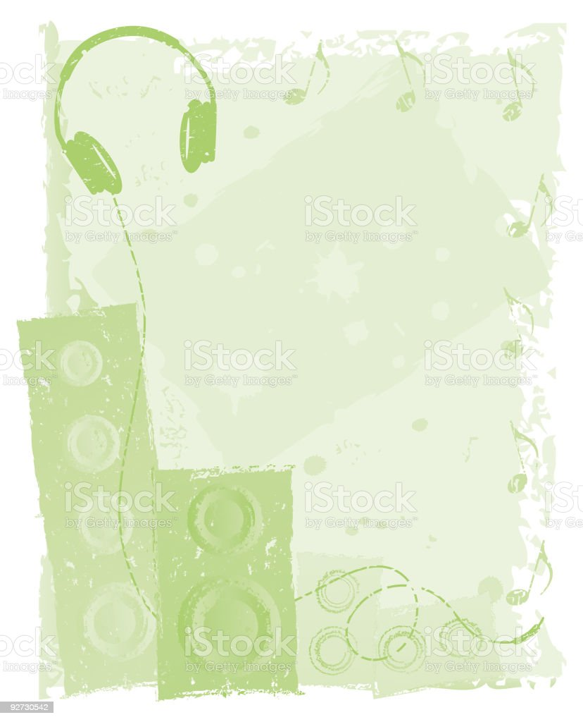 Shades of Green Headphones and Speakers Grunge Background royalty-free stock vector art