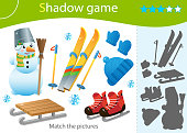 Shadow Game for kids. Match the right shadow. Color image of ski, skates, snowman, wood sledge, cap, mittens. Winter leisure activities. Worksheet vector design for children and for preschoolers.