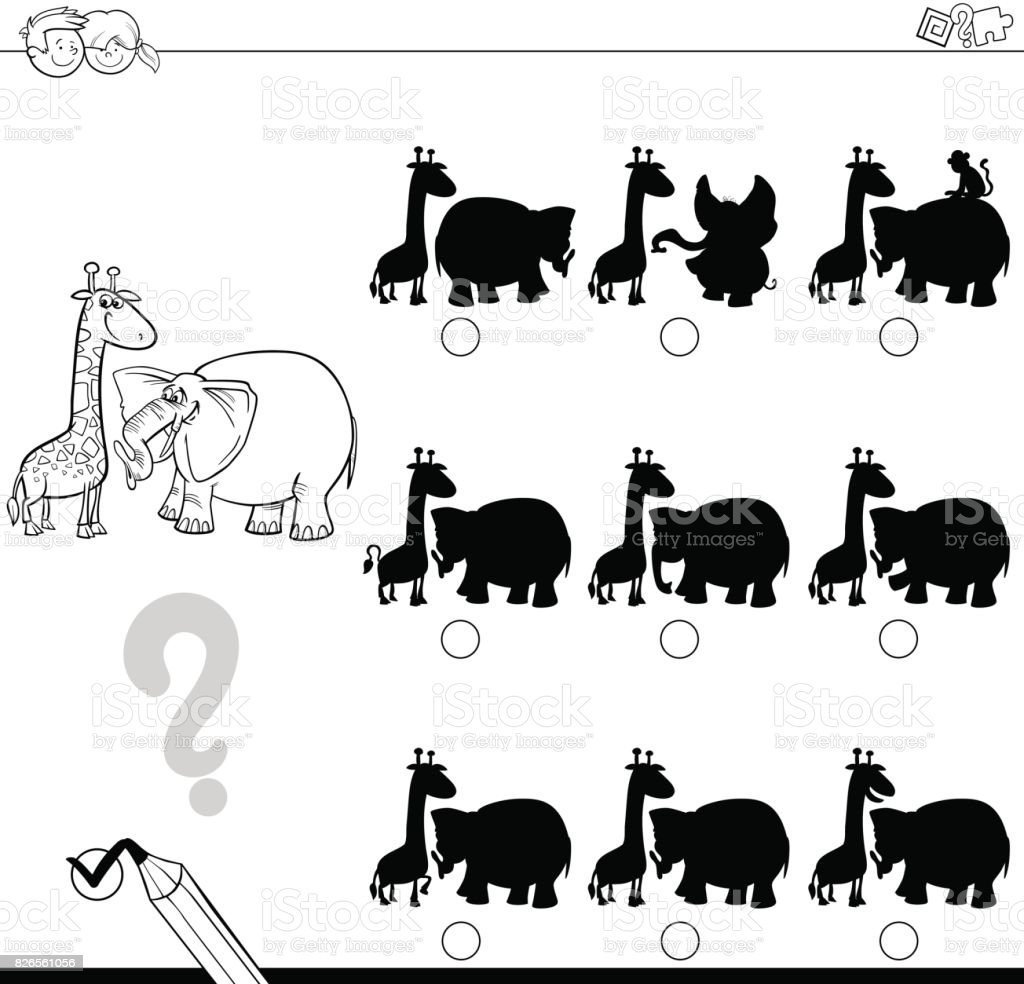 Gölge Oyunu Ile Hayvan Boyama Stok Vektör Sanatı Anaokulunin Daha
