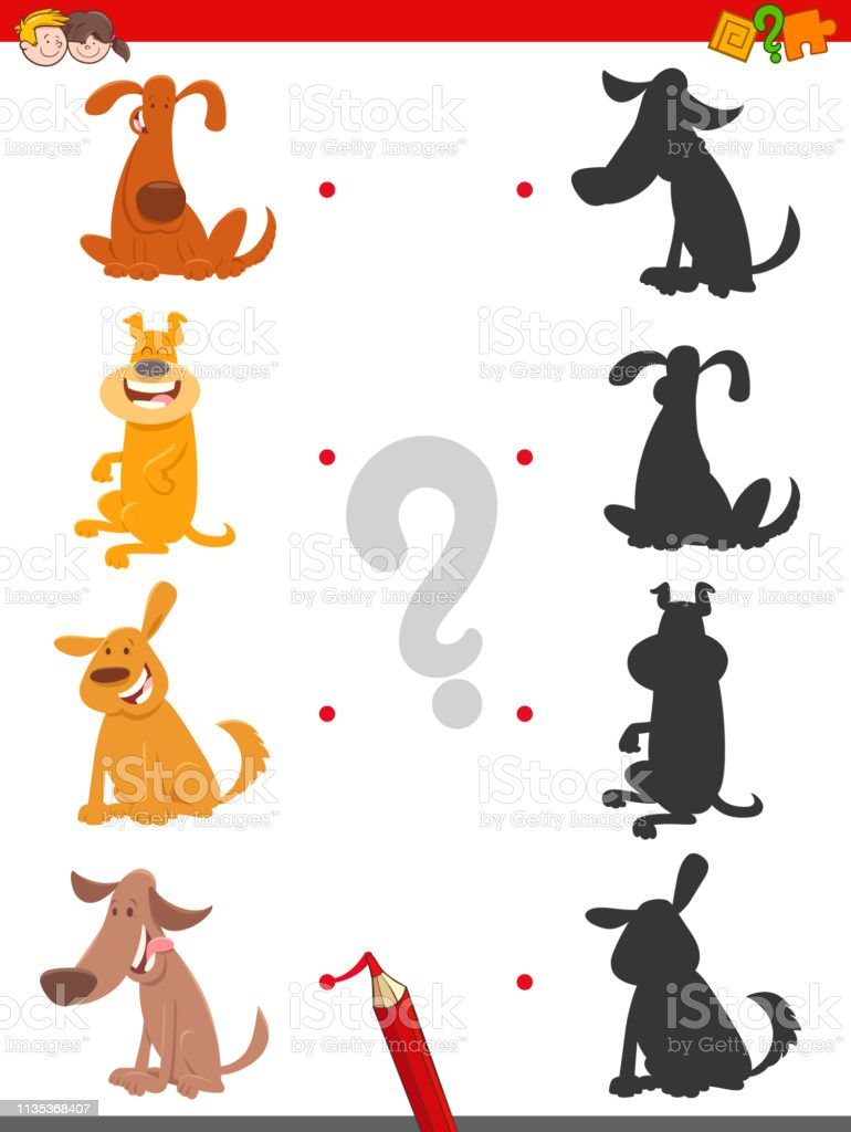 Cartoon Illustration of Find the Shadow Educational Game for Children...