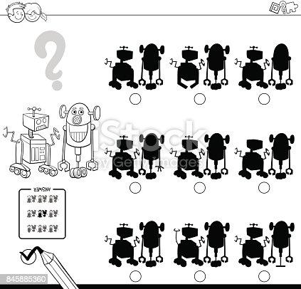 🔥 Imagen de juego de sombras con robots para colorear libro