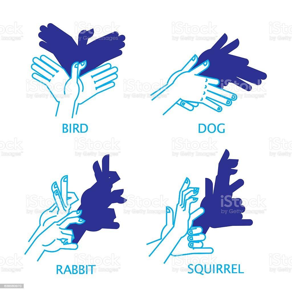 Shadow Hand Puppet Set. Bird, Dog, Rabbit, Squirrel. vector art illustration