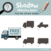Shadow matching game Delivery Truck cartoon character side view vector illustration