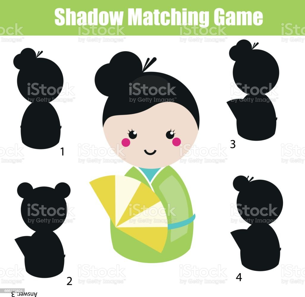 Shadow matching game. Educational children game with japanese kokeshi doll shadow matching game educational children game with japanese kokeshi doll - immagini vettoriali stock e altre immagini di 2-3 anni royalty-free