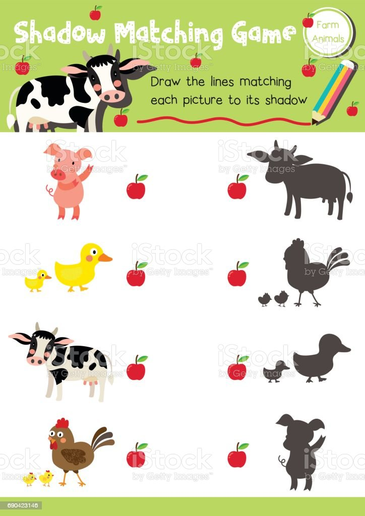 Shadow Matching Game Farm Animal Stock Vector Art & More Images of ...