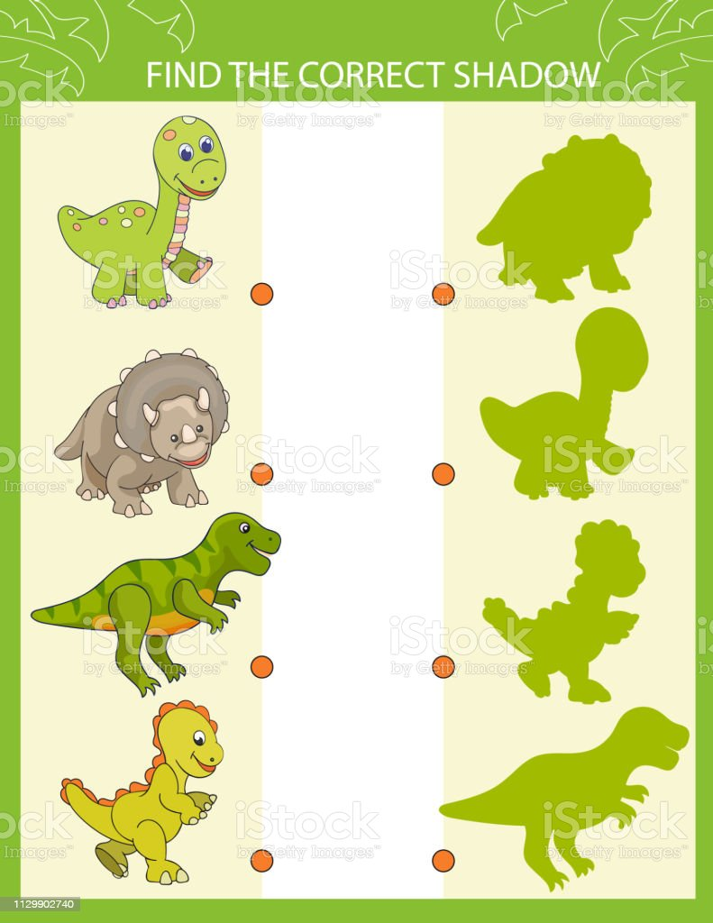 Shadow Matching Game Find The Correct Shadow Cute Cartoon Dinosaurs