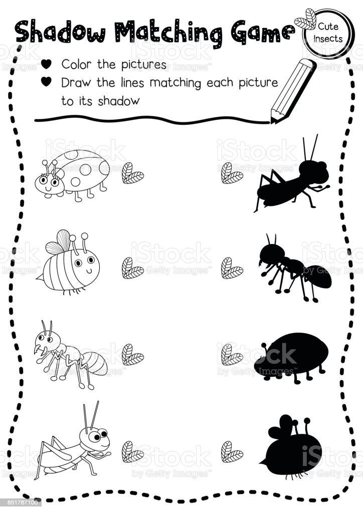 Gölge Eşleşen Oyun Böcek Böcek Hayvan Boyama Sayfası Sürümü Stok
