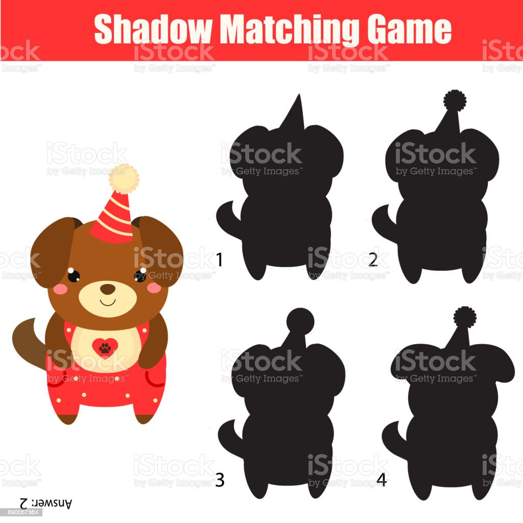shadow matching game kids activity with cute party dog 2018 new year theme royalty