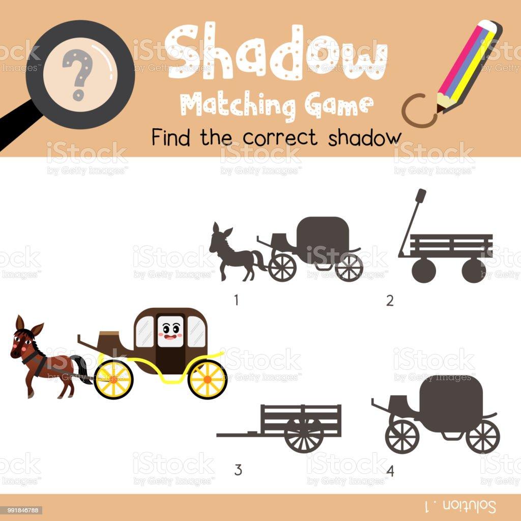 Schattenmatchingspiel Der Kutsche Mit Pferd Seite Ansicht Transporte ...