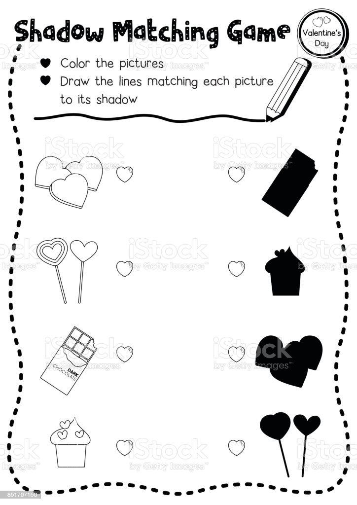 Sayfa Sürüm Boyama Oyun Sevgililer şeker Eşleşen Gölge Stok Vektör