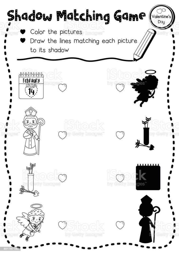 Shadow Matching Game Valentine Cupid Coloring Page Version Stock ...