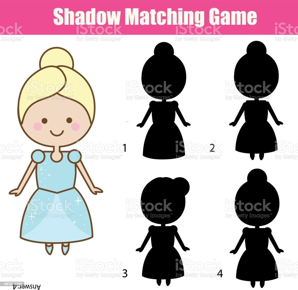 Shadow matching game with cute girl in princess dress royalty-free shadow matching game with cute girl in princess dress stock vector art & more images of 2-3 years