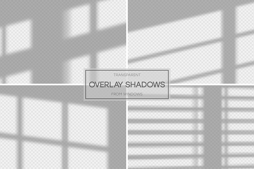 Shadow overlay effect. Set of transparent overlay shadow from the window and jalousie. Realistic soft light effect of shadows and natural lightning on transparent background.