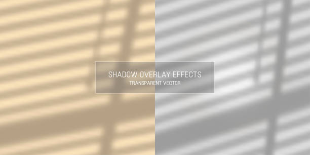 Shadow overlay effects transparent vector Shadow overlay effects transparent shutter curtains reflection vector poster mockup picture frame diploma focus on shadow stock illustrations