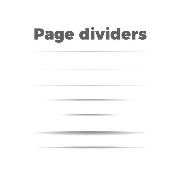 shadow page dividers set - тень stock illustrations