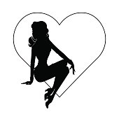 Shadow silhouette of hot girl in heart
