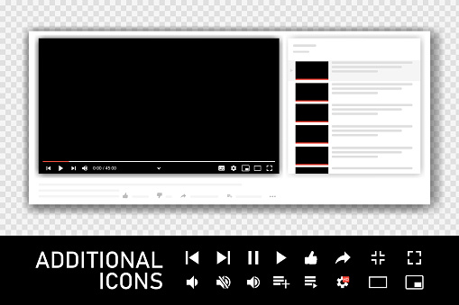 Shadow video player design template for web and mobile applications. Vector illustration in flat style isolated on transparent background. Vector illustration.