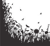 shadows flowers, summer round, vector, black and white vector