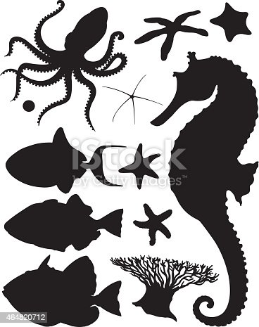 Silhouettes: Cheval de mer , différentes étoiles de mer, poissons tropicaux tel que le Baliste Bleu, Baliste Picasso et Baliste ligné de bleu. Blue Triggerfish, Picasso Triggerfish and Blue Line Triggerfish. Various silhouettes from the sea such as Seahorse, different starfishes and tropical fishes. Aussi disponible / Also available in Illustrator CS2.