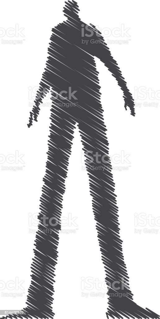 Shadowy dark figure vector sketchy illustration. vector art illustration