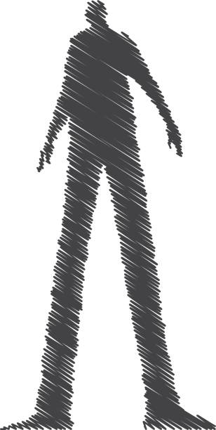 Shadowy dark figure vector sketchy illustration. Shadowy dark figure vector sketchy illustration. human representation stock illustrations