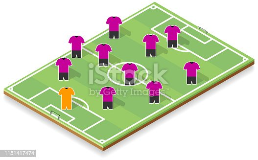 Shady isometric soccer field