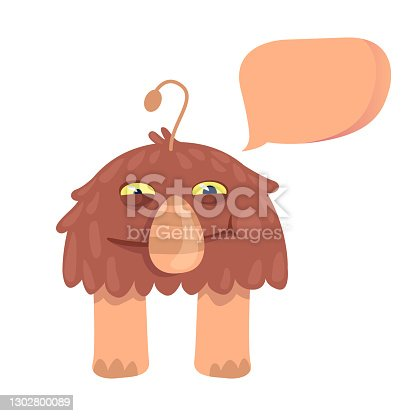 istock Shaggy alien flat cartoon vector illustration. Fantastic animal. Ready to use 2d character template for commercial, animation, printing design. Isolated comic hero with empty speech bubble 1302800089
